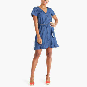 J. Crew Denim Blue Faux Wrap Dress NWT MEDIUM
